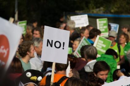 Streit um Mindestbeitrag an die Sozialkassen Bau (soka-bau): Protest, Streik no (protest)