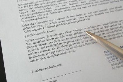 Arbeitsvertrag, vorformulierte Klauseln im Arbeitsvertrag, AGB