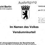 Arbeitsgericht Berlin, Versäumnisurteil 1.12.2016